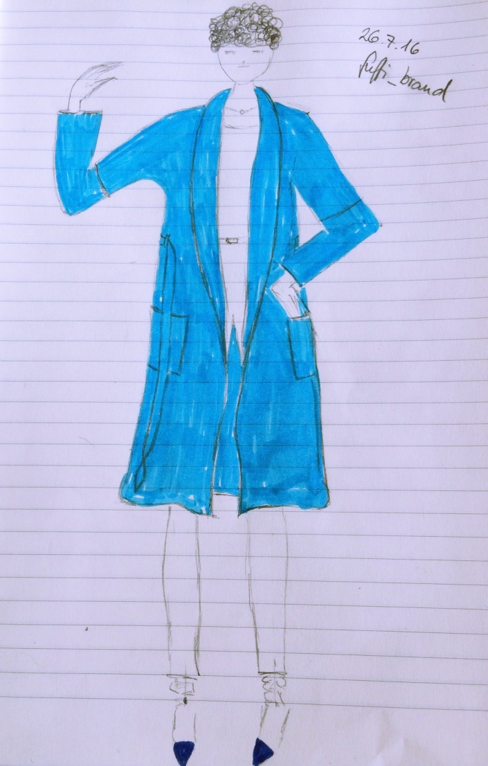 Fashion drawing Model bathrobe